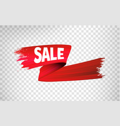 red sale ribbon 3d render abstract brush vector image