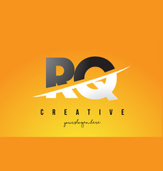 Rq r q letter modern logo design with yellow vector