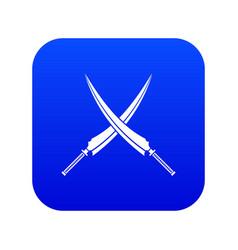 samurai swords icon digital blue vector image