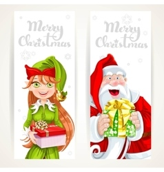 Santa Claus and Elf with gift on two vertical vector image