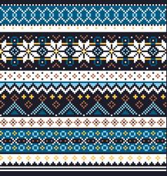 scottish fair isle knitwear pattern vector image