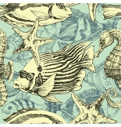 Sea pattern marine life exotic fish background vector