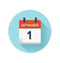 September 1 flat daily calendar icon date vector