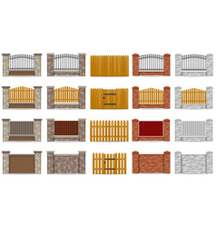set icons fence made from wooden stone brick vector image