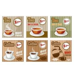 Set of coffee and tea menu card vector image