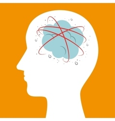 Silhouette head brainstorm mind icon vector