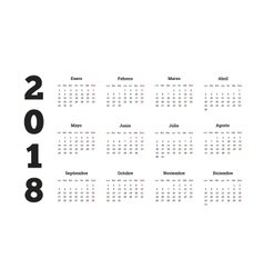 Simple calendar on 2018 year in spanish language vector image vector image
