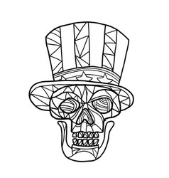 Skull uncle sam black and white mosaic vector