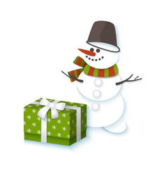 Snowman in bucket scarf and present box vector