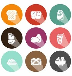 Solid food and beverage icons shadow vector image
