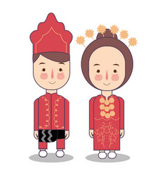 southeast maluku province wedding couple cute vector image