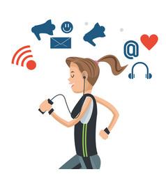 Sport woman with headphones social media vector