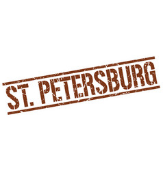 St petersburg brown square stamp vector