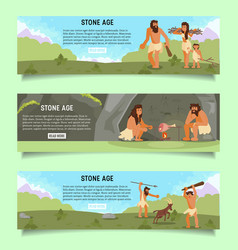 stone age web banner template set vector image