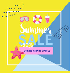 Summer sale banner with beach elements vector