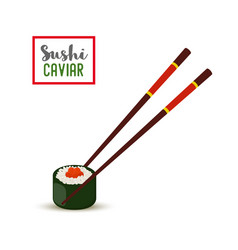 sushi chopsticks - red caviar nori rice vector image