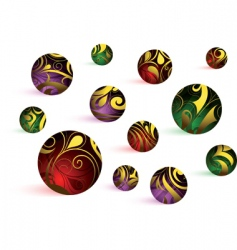 swirly floral globes vector image