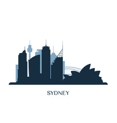 sydney skyline monochrome silhouette vector image