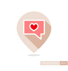 Text bubble with heart pin map icon vector