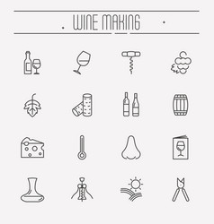 thin line wine and wine making icons set vector image