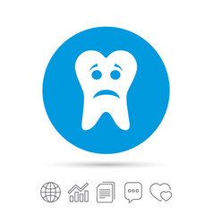 tooth sad face sign icon aching tooth symbol vector image