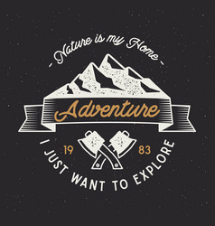 Vintage adventure label mountain expedition vector