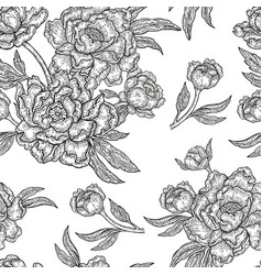 Vintage peony flowers buds and leaves seamless vector