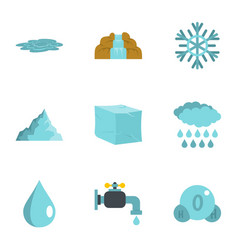 Water natural form icon set flat style vector