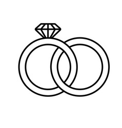 wedding rings linear icon vector image
