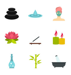 Wellness elements icons set flat style vector