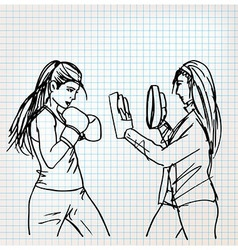 Woman boxer sketch vector image