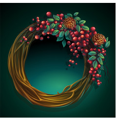 wreath vines and leaves with ash berry and vector image