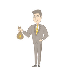 Young caucasian businessman holding a money bag vector