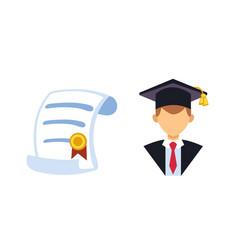 graduation man silhouette uniform avatar vector image vector image