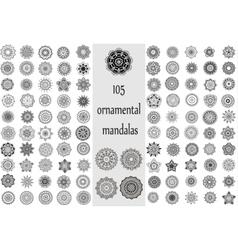 Ornament round set with mandala vector