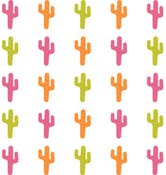 pattern with cute colorful cactuses vector image
