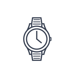watch line icon on white vector image vector image