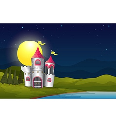 A castle at the riverbank near the pine trees vector image