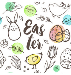 Easter seamless pattern with rabbit and birds vector