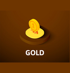 gold isometric icon isolated on color background vector image