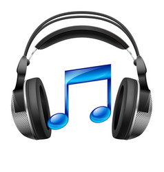 headphones and musical note vector image
