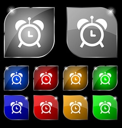 alarm clock icon sign Set of ten colorful buttons vector image