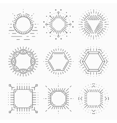 Thin line hipster frames for emblems and badges vector image vector image