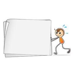 A boy pushing a big blank paper vector image vector image