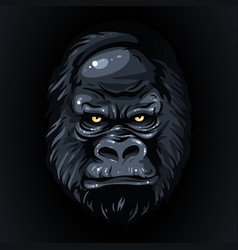 drawing realistic black face gorilla yellow eyes vector image