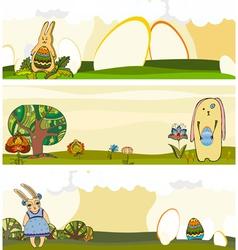 Easter Rabbit Banner Set vector image vector image