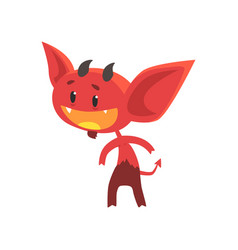 flat of funny little devil with interested vector image