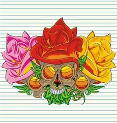 paper flower skull vector image