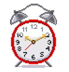 Pixel retro alarm clock isolated vector image