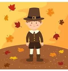 Thanksgiving Pilgrim Boy Cartoon vector image